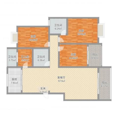 怡园洋房3室2厅3卫1厨190.00㎡户型图