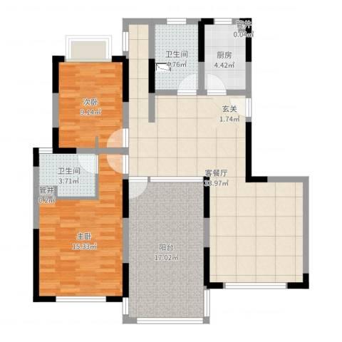 空港一号花园2室2厅2卫1厨111.00㎡户型图