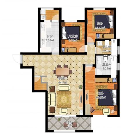 同城馨座3室2厅2卫1厨121.00㎡户型图