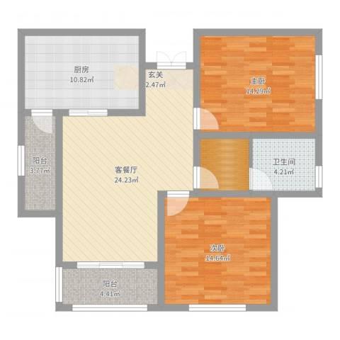 御品世家2室2厅1卫1厨100.00㎡户型图