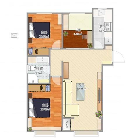 金桥大道3室1厅1卫1厨92.00㎡户型图