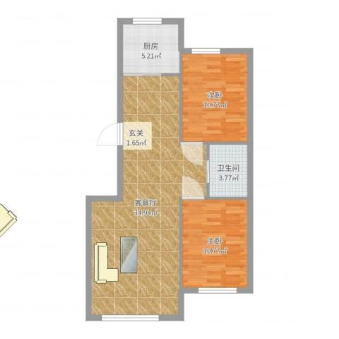 华恒南山公馆2室2厅1卫1厨82.00㎡户型图