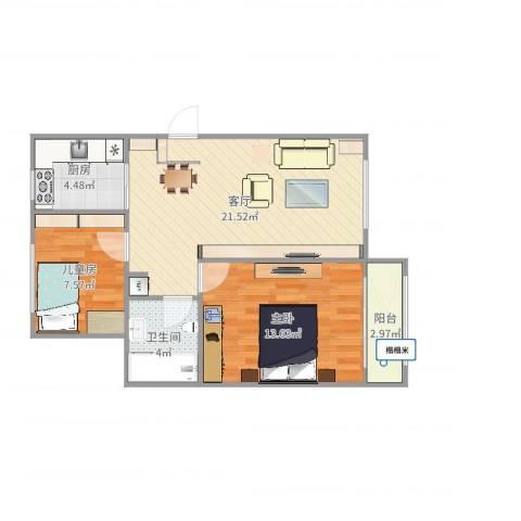 公主坟海军大院2室1厅1卫1厨68.00㎡户型图