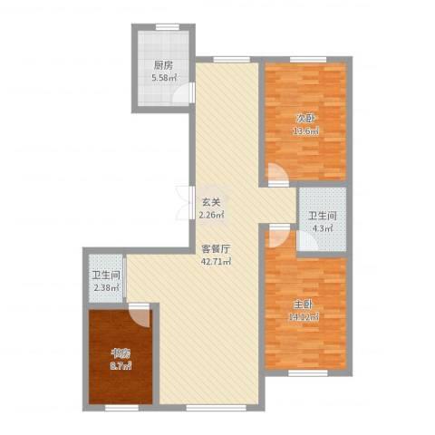 华恒南山公馆3室2厅2卫1厨114.00㎡户型图