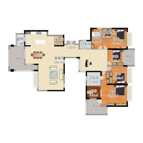 珠海市华发新城五期6室2厅2卫1厨302.00㎡户型图