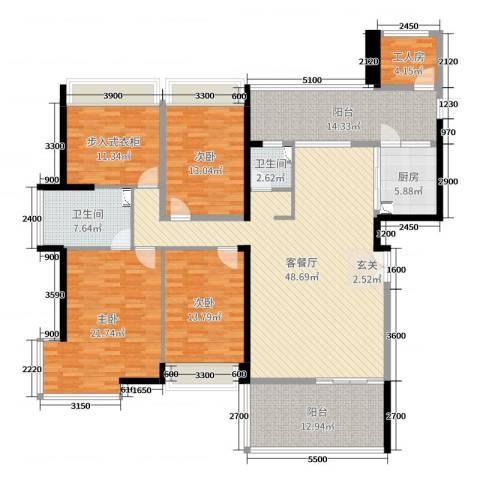 城建仁山智水花园3室2厅2卫1厨180.00㎡户型图