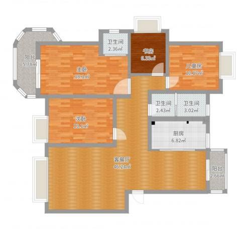 开元新都4室2厅3卫1厨146.00㎡户型图