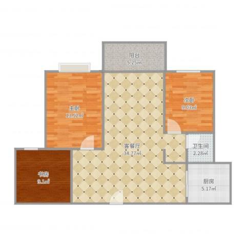 云溪美地802室3室2厅1卫1厨99.00㎡户型图