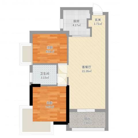 卧龙五洲世纪城2室2厅1卫1厨59.00㎡户型图