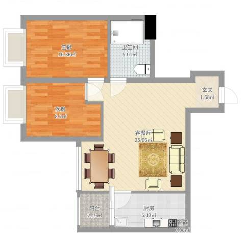 北京路五号公馆2室2厅1卫1厨70.00㎡户型图