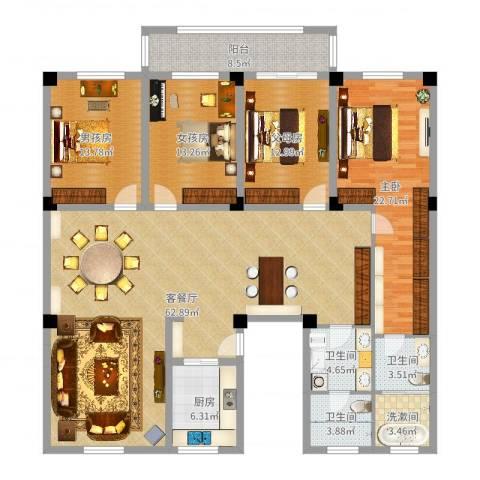 丹阳紫薇花园1室2厅3卫1厨195.00㎡户型图