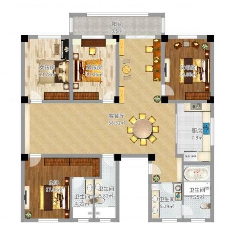 丹阳紫薇花园1室2厅4卫1厨194.00㎡户型图