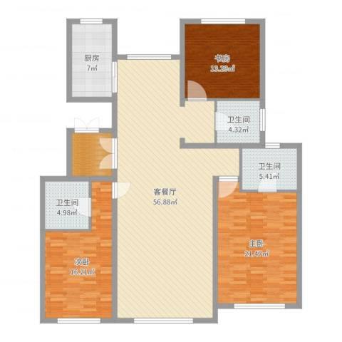 东方纽蓝地3室2厅3卫1厨167.00㎡户型图
