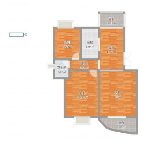 碧水晴天二期2室2厅1卫1厨99.00㎡户型图