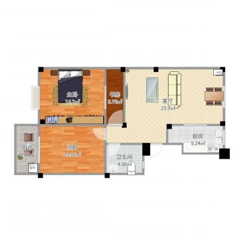 东华都市阳光3室1厅1卫1厨87.00㎡户型图