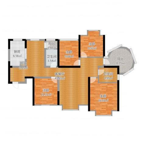 易道郡玫瑰公馆4室2厅2卫1厨147.00㎡户型图