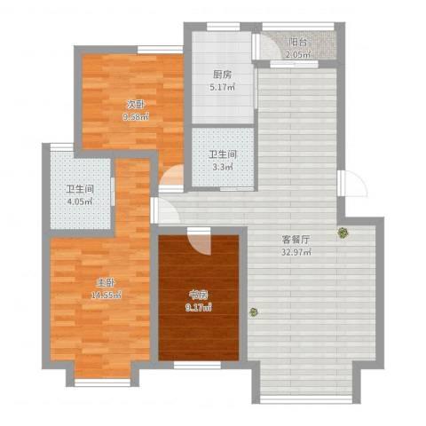 米东新城3室2厅2卫1厨101.00㎡户型图