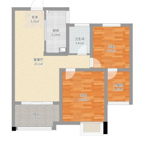 梧桐香郡3室2厅1卫1厨80.00㎡户型图