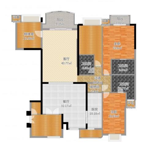 华明园2室2厅3卫1厨265.00㎡户型图