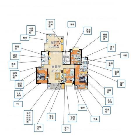 湘江世纪城3室3厅2卫1厨166.00㎡户型图
