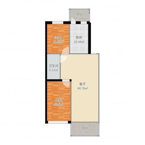 滨江凤凰城2室1厅1卫1厨125.00㎡户型图