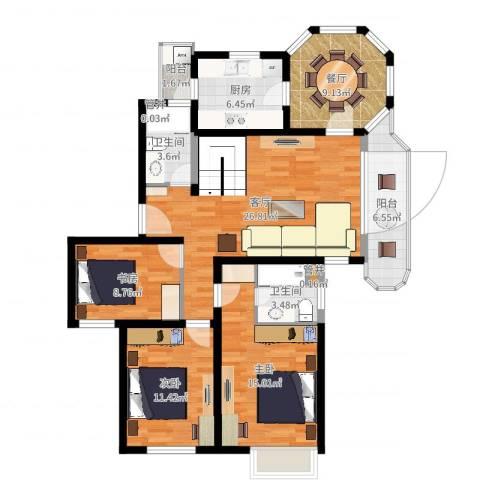 大华锦绣华城第19街区3室2厅2卫1厨116.00㎡户型图