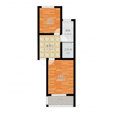 西井三区2室2厅1卫1厨55.00㎡户型图