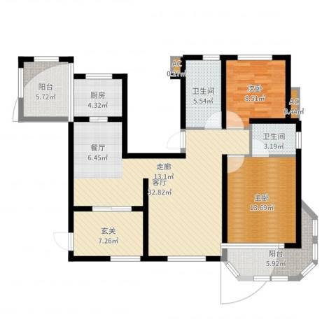 东方格兰维亚2室1厅2卫1厨110.00㎡户型图
