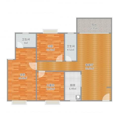 和富家园3室2厅2卫1厨124.00㎡户型图