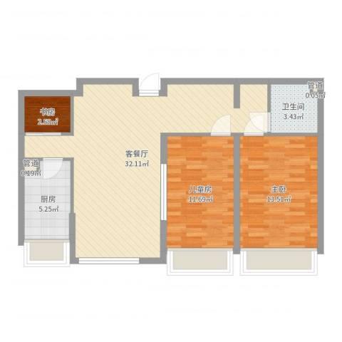 华创观礼中心3室2厅1卫1厨86.00㎡户型图