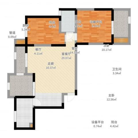 桃苑红杉郡2室2厅1卫1厨93.00㎡户型图