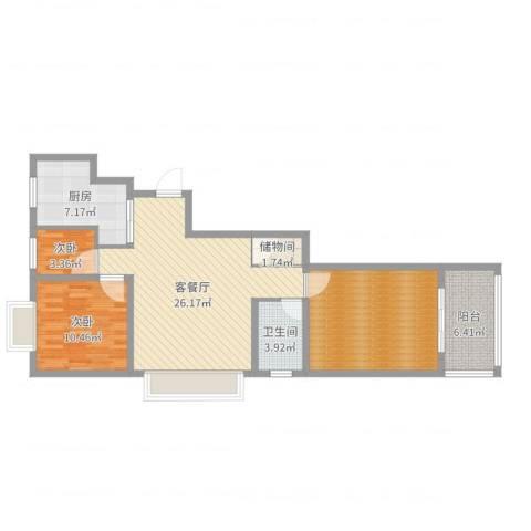 维也纳花园2室2厅1卫1厨95.00㎡户型图