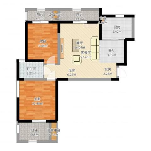 桃苑红杉郡2室2厅1卫1厨87.00㎡户型图