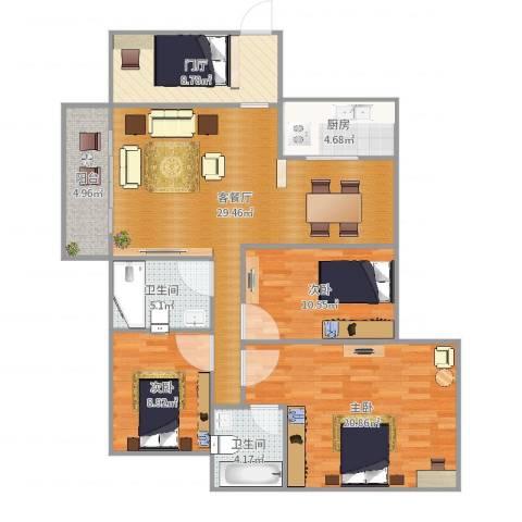 富川瑞园3室2厅2卫1厨122.00㎡户型图