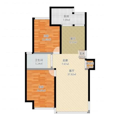 君临六六公寓2室1厅1卫1厨97.00㎡户型图