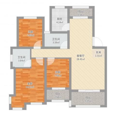 翠湖天地3室2厅2卫1厨100.00㎡户型图