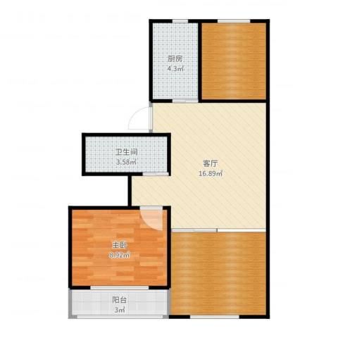 安慧里四区1室1厅1卫1厨66.00㎡户型图