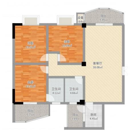 雅戈尔东湖花园3室2厅2卫1厨134.00㎡户型图