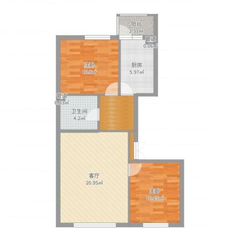 香悦蓝天下2室1厅1卫1厨74.00㎡户型图