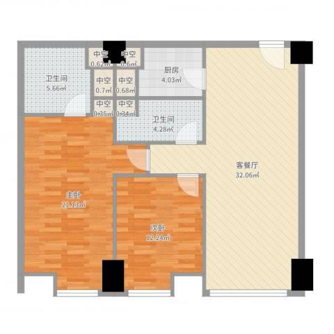 方恒国际中心2室2厅2卫1厨103.00㎡户型图