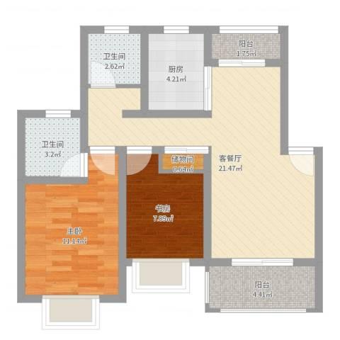 小富人家(奉贤)2室2厅2卫1厨71.00㎡户型图