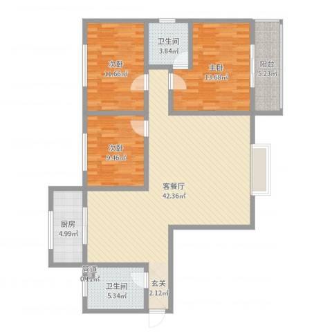 隆安东方明珠3室2厅2卫1厨121.00㎡户型图