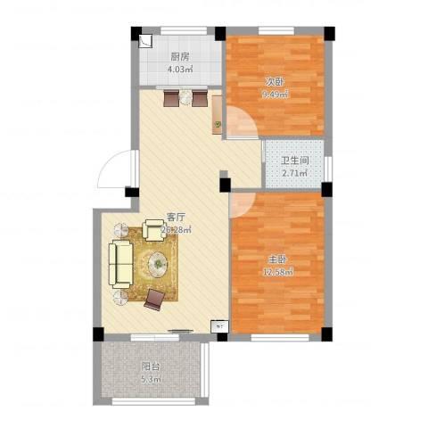 相郡2室1厅1卫1厨75.00㎡户型图