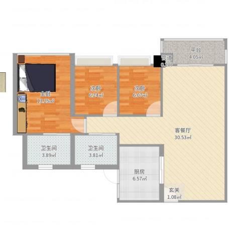 雍翠雅园3室2厅2卫1厨93.00㎡户型图