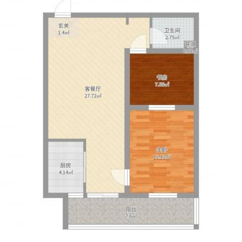 武城新镇2室2厅1卫1厨61.96㎡户型图