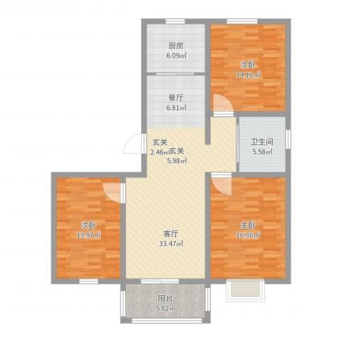 锦城丽景3室1厅1卫1厨119.00㎡户型图