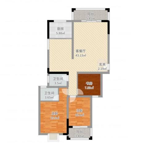 天鹅湖1号3室2厅2卫1厨123.00㎡户型图