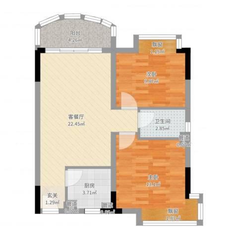 诚德中心2室2厅1卫1厨71.00㎡户型图