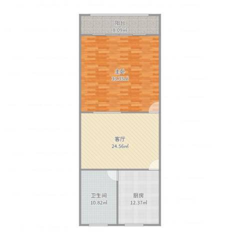 幸福第一公寓1室1厅1卫1厨111.00㎡户型图