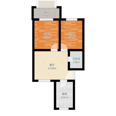 金鸡亭西林东里2室1厅1卫1厨64.00㎡户型图